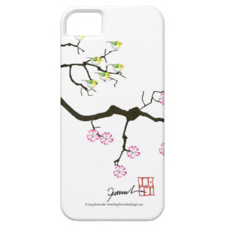 7 sakura blossoms with 7 birds, tony fernandes iPhone 5 cover