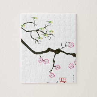 7 sakura blossoms with 7 birds, tony fernandes jigsaw puzzle