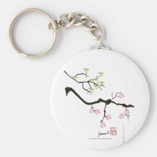 7 sakura blossoms with 7 birds, tony fernandes keychain