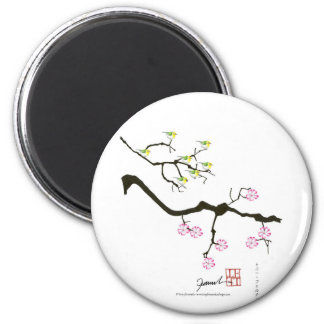 7 sakura blossoms with 7 birds, tony fernandes magnet