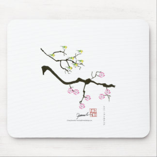 7 sakura blossoms with 7 birds, tony fernandes mouse pad