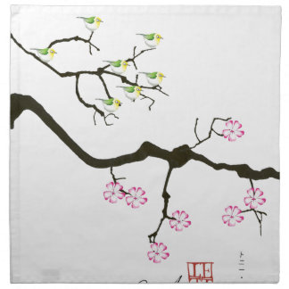 7 sakura blossoms with 7 birds, tony fernandes napkin