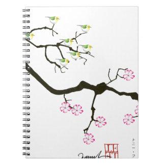 7 sakura blossoms with 7 birds, tony fernandes notebook