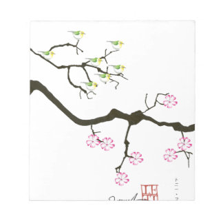 7 sakura blossoms with 7 birds, tony fernandes notepad