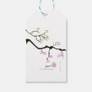 7 sakura blossoms with 7 birds, tony fernandes pack of gift tags