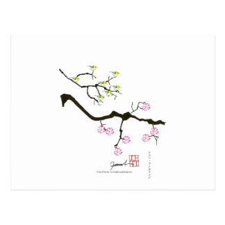 7 sakura blossoms with 7 birds, tony fernandes postcard