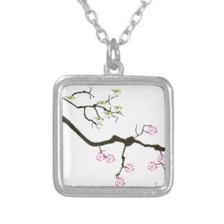 7 sakura blossoms with 7 birds, tony fernandes silver plated necklace