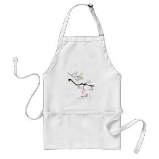 7 sakura blossoms with 7 birds, tony fernandes standard apron