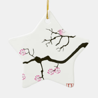 7 sakura blossoms with pink bird, tony fernandes ceramic ornament