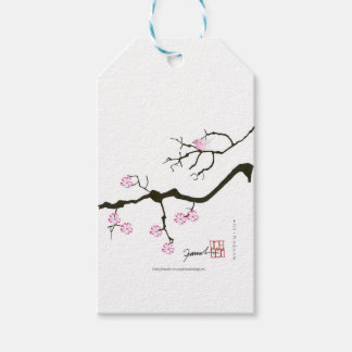 7 sakura blossoms with pink bird, tony fernandes gift tags