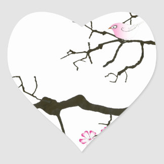 7 sakura blossoms with pink bird, tony fernandes heart sticker