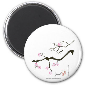7 sakura blossoms with pink bird, tony fernandes magnet