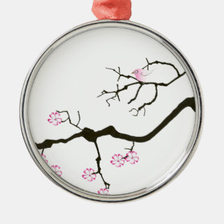 7 sakura blossoms with pink bird, tony fernandes metal ornament