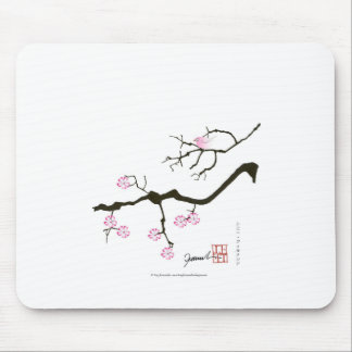 7 sakura blossoms with pink bird, tony fernandes mouse pad