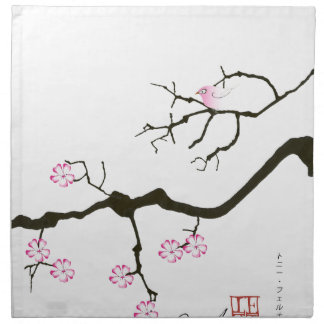 7 sakura blossoms with pink bird, tony fernandes napkin
