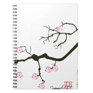 7 sakura blossoms with pink bird, tony fernandes notebook