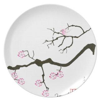7 sakura blossoms with pink bird, tony fernandes plate