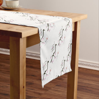 7 sakura blossoms with pink bird, tony fernandes short table runner