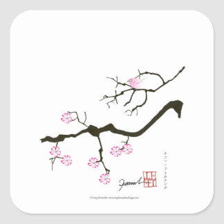 7 sakura blossoms with pink bird, tony fernandes square sticker