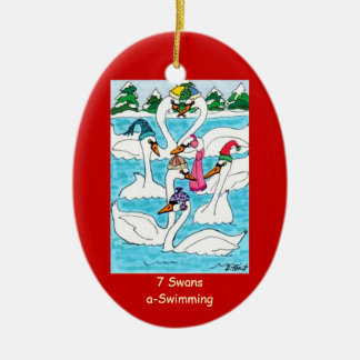 7 Swans a Swimming Ceramic Oval Ornament