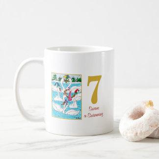 7 Swans a Swimming Cute Animals & Typography Coffee Mug