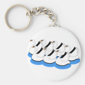 7 Swans Swimming Keychain