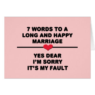 7 Words For A Long and Happy Marriage Card