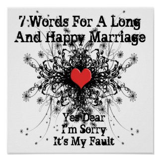 7 Words For A Long and Happy Marriage Print