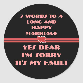 7 Words For A Long and Happy Marriage Stickers