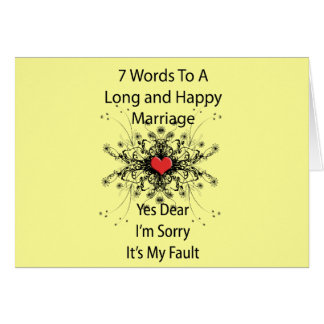 7 Words To A Long Marriage Card