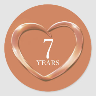 7 years copper anniversary heart stickers