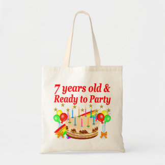 7 YEARS OLD AND READY TO PARTY BIRTHDAY DESIGN BUDGET TOTE BAG