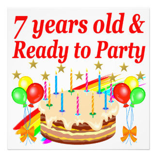 7 YEARS OLD AND READY TO PARTY BIRTHDAY DESIGN PHOTO PRINT