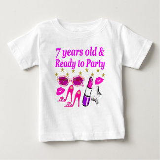 7 YEARS OLD AND READY TO PARTY PRINCESS DESIGN BABY T-Shirt