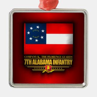 7th Alabama Infantry Silver-Colored Square Ornament