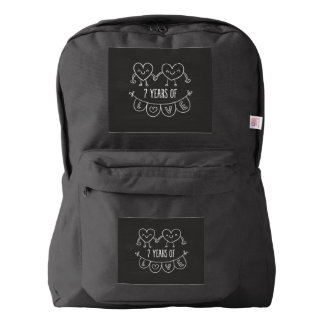 7th Anniversary Gift Chalk Hearts Backpack