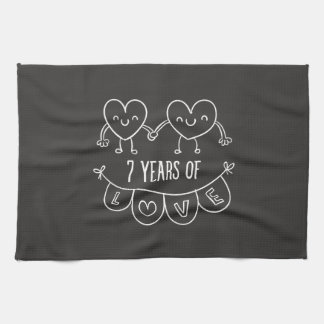 7th Anniversary Gift Chalk Hearts Kitchen Towel