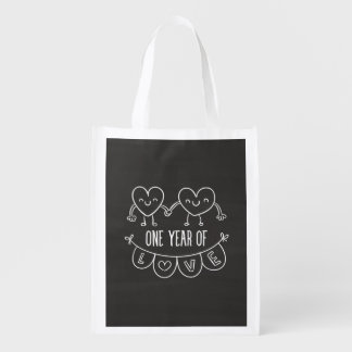 7th Anniversary Gift Chalk Hearts Reusable Grocery Bag