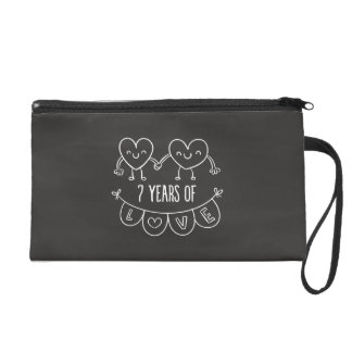 7th Anniversary Gift Chalk Hearts Wristlet Purses