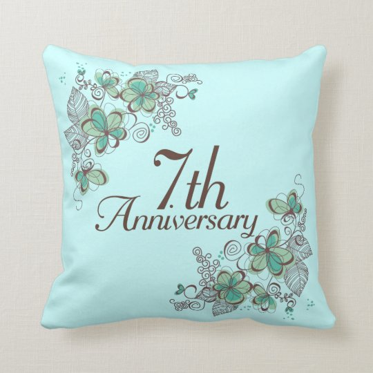 7th Anniversary Gift Throw PIllow