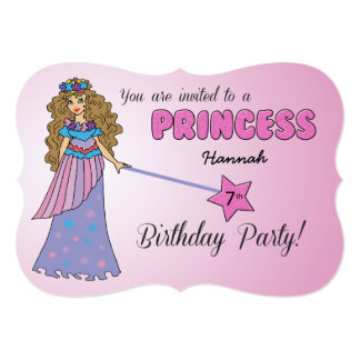7th Bday Invitation Pink Princess w/ Sparkly Wand