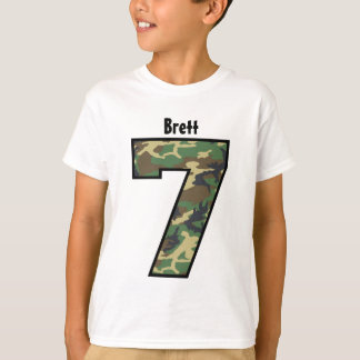 7th Birthday Boy Camo Four Year Custom Name V007G T-Shirt