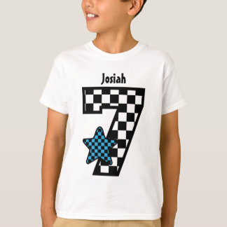 7th Birthday Boy Checked Star Custom Name V07A T-Shirt