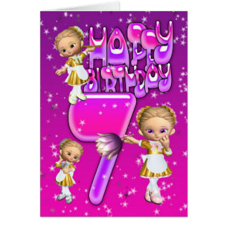 7th Birthday Card cute little glitter maids