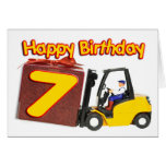 7th birthday card with a fork lift truck