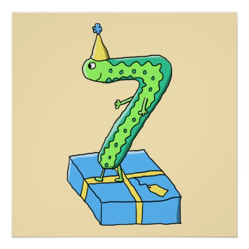 7th Birthday Cartoon, Green and Blue. Posters