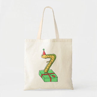 7th Birthday Cartoon, Yellow and Green. Tote Bags