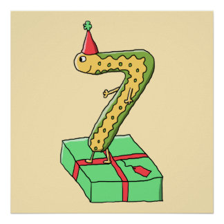 7th Birthday Cartoon Yellow and Green Print