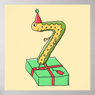 7th Birthday Cartoon, Yellow and Green. Print