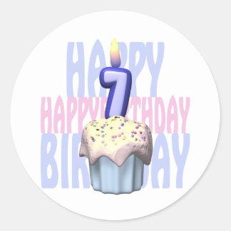 7th Birthday Cupcake Birthday Classic Round Sticker